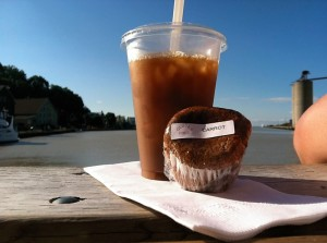Iced Coffee and gluten-free muffin from Killer Desserts