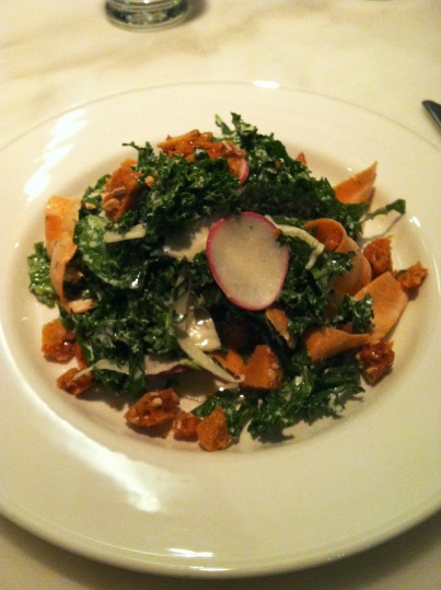 Kale salad with sunflower seed brittle
