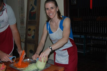 Me in the kitchen of Thai Cooking School