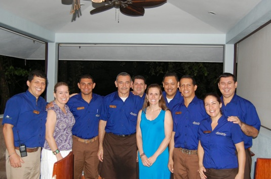 Erin Smith with the staff of Arenas del Mar in Manuel Antonio, Costa Rica.