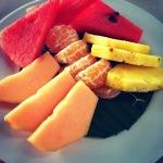Watermelon, tangerines, pineapple, cantaloupe