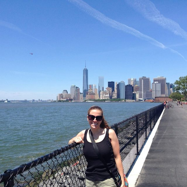 Me on Governors Island with the Freedom Tower behind me.